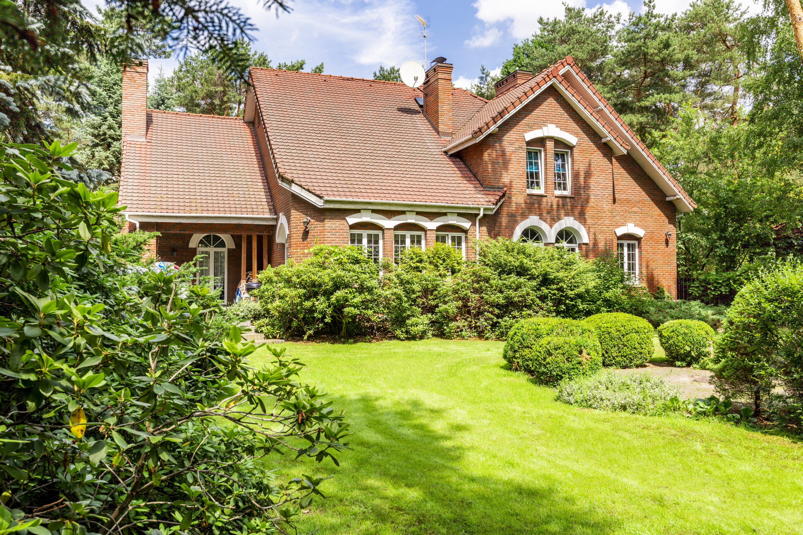 Backyard of a beautiful english style house with bushes and gree